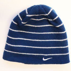 Nike Youth Blue White Striped Beanie (GREAT COND)